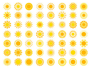 Sun collection. Yellow sunrise symbols nature vector stylized icon of sun. Illustration of set sun, sunshine yellow for weather app