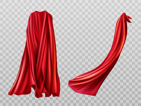 Red cloaks set. Silk flattering capes back and side view isolated on transparent background. Carnival, masquerade dress, superhero costume design element. 3d realistic vector illustration, clip art