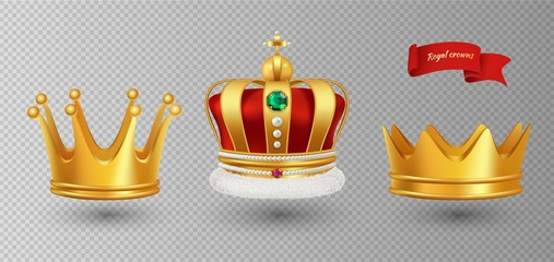 Realistic royal crowns. Vector luxury premium monarchy antique diadem diamonds and jewels and gold crowns isolated on transparent background. Illustration crown emperor, coronation monarch