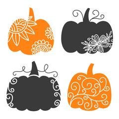 Swirly Decorative Pumpkin set. Thanksgiving Autumn Clip art