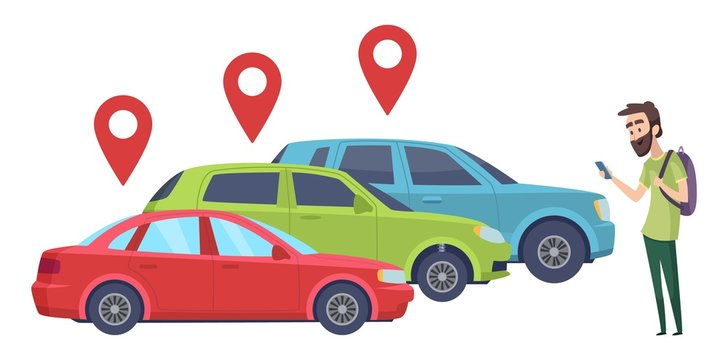 Car sharing. Man looking for vehicle with smartphone app. Rent car online. Car automobile transport service, transportation carsharing illustration