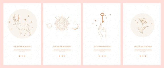 Obraz Collection of mystical and mysterious illustrations for Mobile App, Landing page, Web design in hand drawn style. Space and astrology concept. Minimalistic objects made in the style of one line. - fototapety do salonu