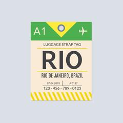 Rio de Janeiro Luggage tag. Airport baggage ticket. Travel label. Vector illustration.