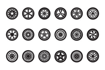 Car wheel collection. Automobile tire silhouettes racing vehicle wheels vector pictures. Illustration tire automobile, car wheel set