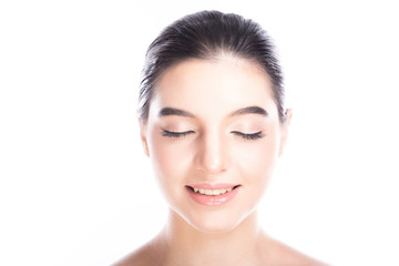Beauty woman face isolate in white background. Young caucasian girl, perfect skin, cosmetic, spa, beauty treatment concept. Portrait, close eye, happy smile.