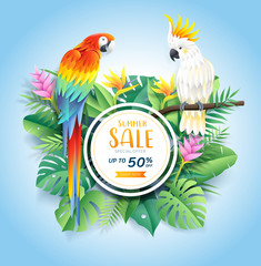 Summer sale card with cockatoo and scarlet macaw on tropical leaf flowers paper cut background. Vector illustration