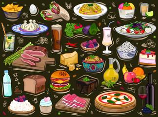 Set food, background ornament, vector illustration