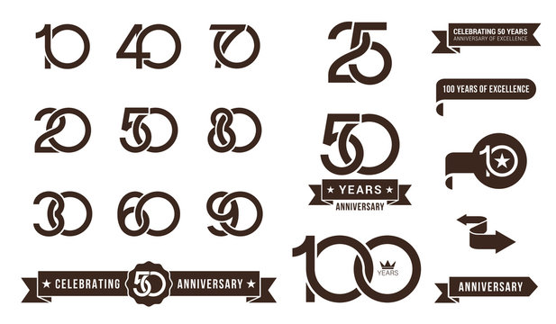 Set of anniversary pictogram icon and anniversary banner collection