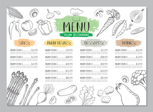 Vegan restaurant menu template - A4 card (vegetables drawings)