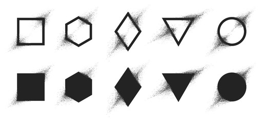 Vector set of geometric shapes with particle spray effect, Destruction of the figure turning into dust