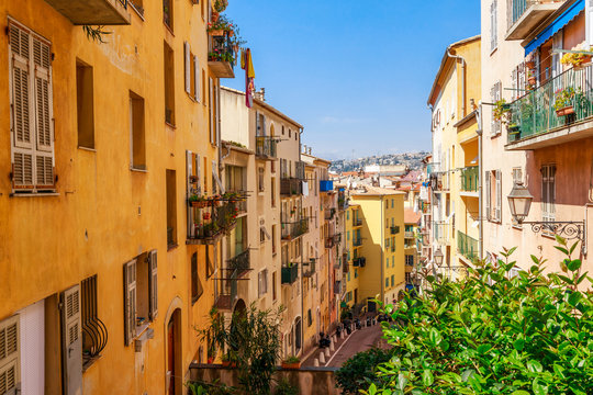 Street view of Nice, Cote d'Azur, France, South Europe. Beautiful city and luxury resort of French riviera. Famous tourist destination with nice beach on Mediterranean sea