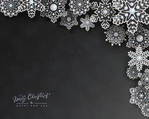 Christmas holiday design with 3d transparent openwork snowflakes on a black background. Elegant horizontal postcard with a corner snow border in paper cut style. Vector illustration