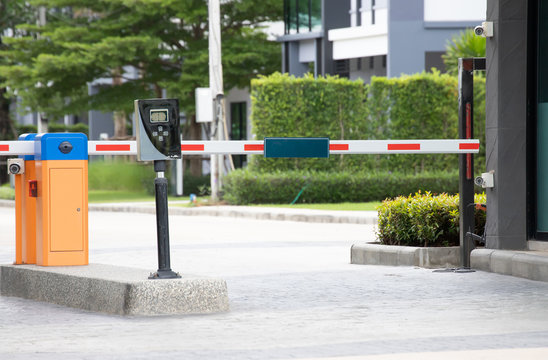 car park barrier of village entrance, automatic entry  security system.