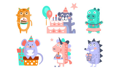 Wall Mural - Cute Cartoon Animal Characters Set, Childish Birthday Party Design, Cat, Bear, Crocodile, Mouse, Unicorn, Hedgehog Vector Illustration