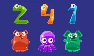 Collection of Jelly Creatures and Numbers, Glossy Colorful Cute Animals Vector Illustration