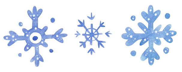 Snowflakes, hand drawn watercolor illustration isolated on white.