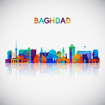 Baghdad skyline silhouette in colorful geometric style. Symbol for your design. Vector illustration.