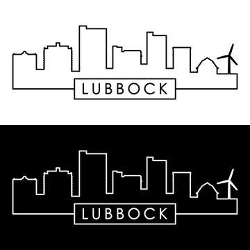 Lubbock skyline. Linear style. Editable vector file.