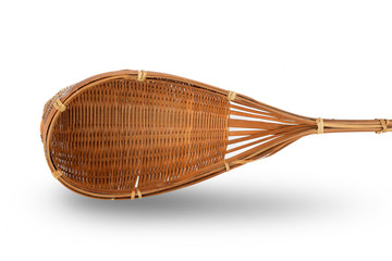 wooden bamboo basket on white background