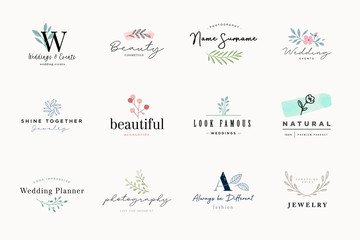Wall Mural - Set of elegant and luxury signs for beauty, natural and organic products, cosmetics, spa and wellness, fashion, wedding and jewelry. Vector illustrations for graphic and web design, marketing material