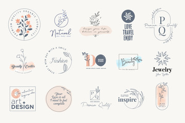 Set of elegant labels and badges for beauty, natural and organic products, cosmetics, spa and wellness, fashion, jewelry, art. Vector illustrations for graphic and web design, marketing material.