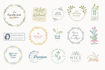 Wall Mural - Set of elegant badges and stickers for beauty, natural and organic products, cosmetics, spa and wellness, fashion, jewelry, wedding. Vector illustrations for graphic and web design, marketing material