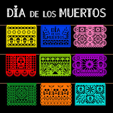 Papel picado. Mexican hanging pecked perforated paper decoration flags for for day of the dead, dia de los muertos, party, vector illustration