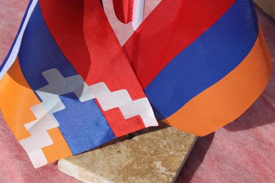 flags of Nagorno Karabakh Artsakh and Armenia