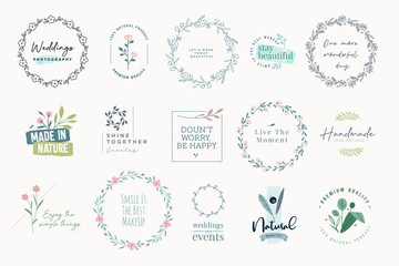 Wall Mural - Set of elegant signs and badges for beauty, natural and organic products, cosmetics, spa and wellness, fashion, jewelry, wedding. Vector illustrations for graphic and web design, marketing material.