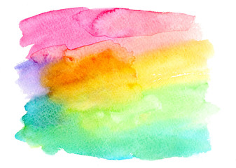 Abstract colorful watercolor texture on a white background. Hand drawn illustration. Design for backgrounds, covers, cards, invitations, logos and websites.
