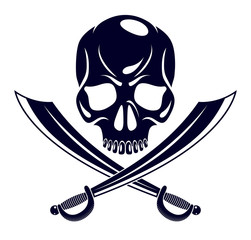 Jolly Roger dead head aggressive skull, Pirates vector emblem or logo with weapons, vintage style logo or tattoo.