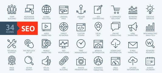 Obraz Outline web icons set - Search Engine Optimization. Thin line web icon collection. Simple vector illustration. - fototapety do salonu