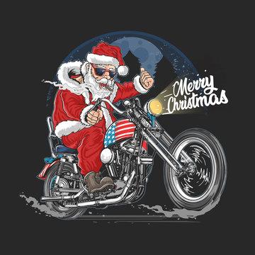 SANTA CLAUS CHRISTMAS USA AMERICA TOUR BIKER MOTORCYCLE, MOTORBIKE, COOPER