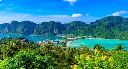 Koh Phi Phi Don, Viewpoint - Paradise bay with white beaches. View from the top of the tropical island over Tonsai Village, Ao Tonsai, Ao Dalum. Krabi Province, Thailand.