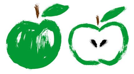 Apple. Green fruit. Grunge design vector illustration