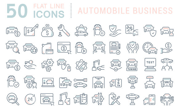 Set Vector Line Icons of Automobile Business