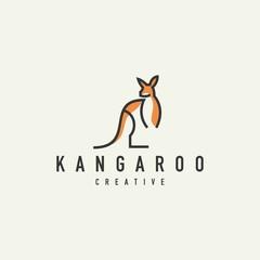 monoline kangaroo logo-vector illustration on a light background