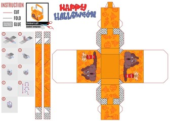 Halloween gift box print template monster dynamite