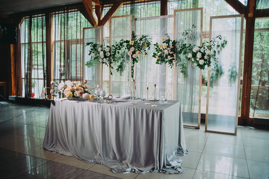 Head table for the newlyweds at the wedding hall.