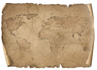 Wall Mural - Old world map illustration isolated on white. Based on image furnished from NASA.