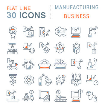 Set Vector Line Icons of Manufacturing Business