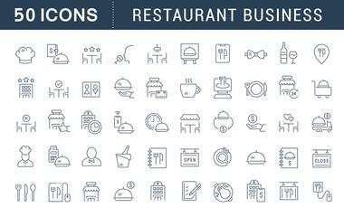 In de dag Restaurant Set Vector Line Icons of Restaurant Business