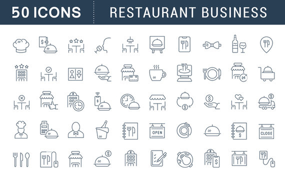 Set Vector Line Icons of Restaurant Business