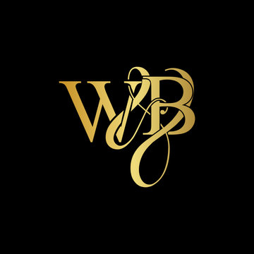 W & B WB logo initial vector mark. Initial letter K & M KM luxury art vector mark logo, gold color on black background.