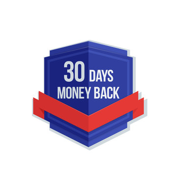 30 days Money Back Guarantee shield with ribbon illustration