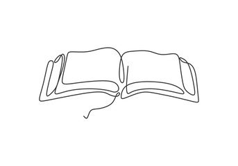 one line drawing of book vector illustration study supply theme for school and education object