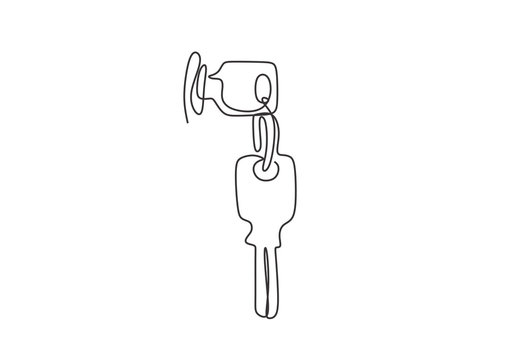 one line drawing key minimalist vector illustration object minimalism sign and symbol of security