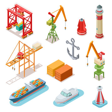 Isometric ships. Sea transport maritime terminal shipping logistics port seaport crane ship shipping nautical barge 3d vector set. Transportation terminal, industrial seaport illustration