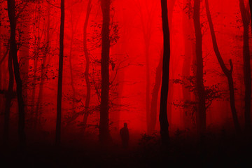 Foto op Plexiglas Rood traf. surreal horror landscape, man in forest nightmare scene
