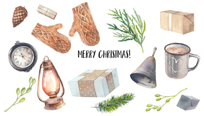 Christmas illustration set. Watercolor retro lantern, hot drink cup, gift box, bell, mittens, clock, plants. Isolated winter objects for banner, headers, website, stickers